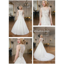2014 Charming Sheer Neck See Through Back Applique Beaded A-Line Wedding Dress Bridal Gown With Long Detachable Tail NB0635