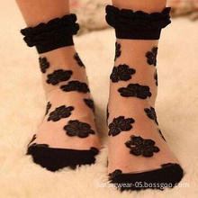 Lace Transparent Crystal Vintage Short Rose Socks, Breathable, Available in Various Styles, Colors