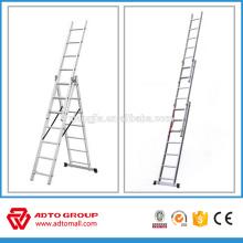Escalera de extensión de aluminio EN131, escaleras de extensión de 3 secciones, escalera plegable de aluminio