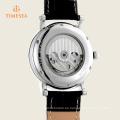 Reloj mecánico esqueleto automático con banda de cuero genuino 72342