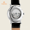 Skeleton Automatic Watch Mechanical Watch with Genuine Leather Band 72342