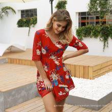 Модные шифоновые платья с V-образным вырезом и цветочным принтом с половиной рукавов