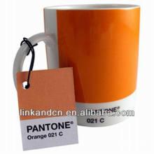 Tazas de cerámica anaranjadas Haonai 11oz con pantone No.