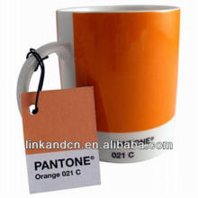 Haonai 11oz orange ceramic mugs with pantone No.