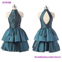 Halter Sleeveless Party Dress Short Prom Dress Evening Dress