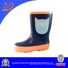 Kr041 botas de lluvia de los cabritos de gato precioso azul oscuro