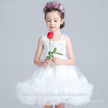 2017 high quality chilffon girl clothing dance costume white sling puffy girl dresses