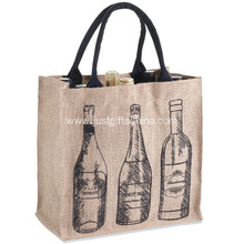 Custom Jute 6-bottle Wine Tote