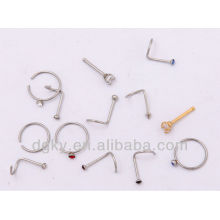 Surgical Steel Nose Ring corpo jóias cristal nariz studs