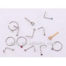 Surgical Steel Nose Ring corpo jóias cristal nariz studs
