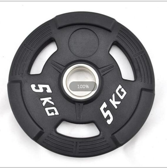 Three Handles Rubber Coated Barbell Bumper Weight Plates