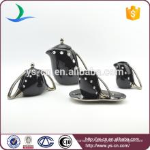 Серебряный гальванизированный керамический чайный набор с акриловым камнем