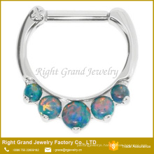 Customized Size Stainless Steel Prong Set Synthetic Opal Septum Clicker Nose Ring