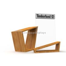 Kreatives Ahornholz Individueller Schuh Shop Ständer Display Counter Top Kommerzielle Acryl Schuhe Stand