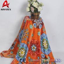 Precio barato mariposa de girasol naranja impreso manta de lana de franela