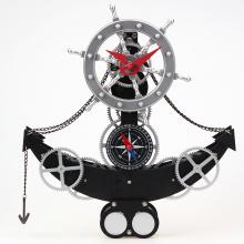 Black Anchor Gear Clock For Decoration