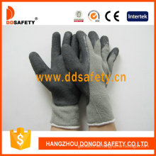 Guantes de algodón con recubrimiento de látex y espuma, acabado de la arruga (DKL418)