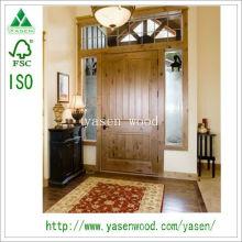 Porte d'entrée en bois massif pin massif