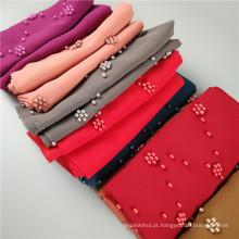Fornecedor chinês elegante chiffon pérola contas dupatta hijab mulheres malásia muçulmano cabeça lenço