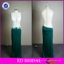 ED Bridal Real Sample Lace Applique Round Neck Sheath Green Satin Gown Evening Dress