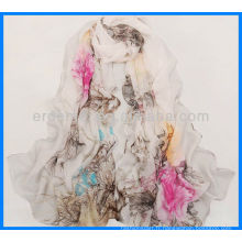Robe imprimé en écharpe en satin femme