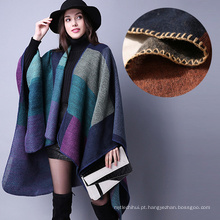 Atacado novo estilo de moda tamanho grande preço barato mulheres casacos de inverno poncho