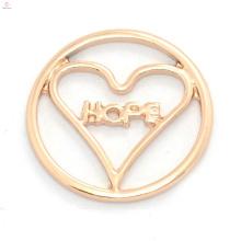 Novo design de liga de ouro rosa rodada flutuante encantos janela medalhão chapas HOPE