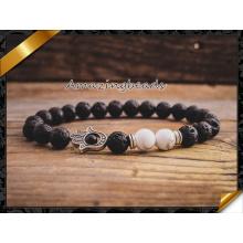 Black lava pedra com cercadura pulseira, bracelete de charme de tira para homens e jóias do presente das mulheres (CB051)