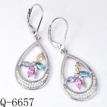 925 Art- und Weisesilberne Ohrringe mit buntem Zircon (Q-6657)