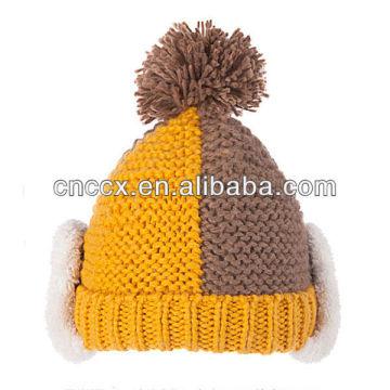 PK17ST323 dernière conception dame mode tricoter pom pom beanie hat