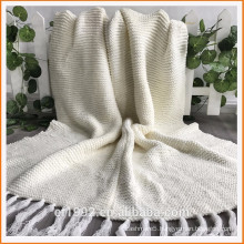 Heavy Gauge King Size Ivory Chunky Wool patchwork Blanket with tassel