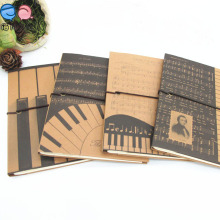 Grid Page Woodfree Paper Notebooks with Kraftpaper Cover Elastic Band