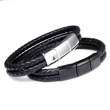 Adjustable Stainless Steel Magnet Buckle Leather Bracelet