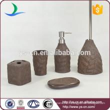 Promotion des ventes Forme des feuilles Brown Ceramic Cheap Set de bain