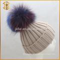 China Genuine Raccoon Custom Pom Pom Knit Hat para adulto