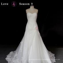 XW6603 designer do decote do coração profundo beaded moda vestidos de noivas vestir mais recente design simples vestidos de noiva