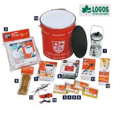 Peso ligero 14 piezas de supervivencia conjunto y kit de desastre puede para la supervivencia. Fabricado por Logos. Hecho en Japón (purificador de agua)
