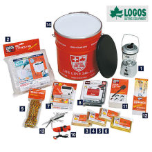 Light weight 14 piece set survival and disaster kit can for survival. Manufactured by Logos. Made in Japan (water purifier)