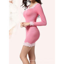 Ladies White Lace Dress Seamless Long Sleeve Dresses