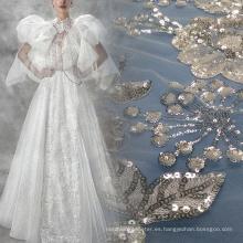 Tela de encaje de tul de cristal de flores para el vestido