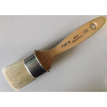 Wooden Handle Oval Brush with White Bristle