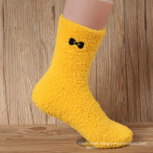 Winter Super Warm Feather Yarn Thick Floor Socks with Bow (WA806)