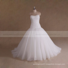 Gorgeous Beaded Pleated Tulle Cheap Muslim White Wedding Dress