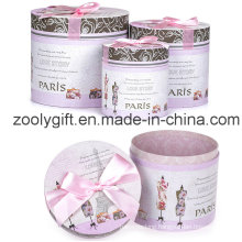 Cardboard Round Gift Box Set with Butterfly Bow