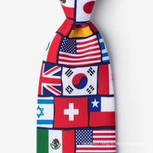 Chinese Manufacturer Handprinted Men American Flag Silk Perfect Tie