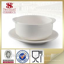 Vaisselle en porcelaine en céramique à la main, tasse à soupe avec poignée