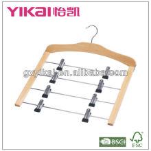 Crochet de jupe en bois à économie d'espace avec 4 niveaux de clips matal