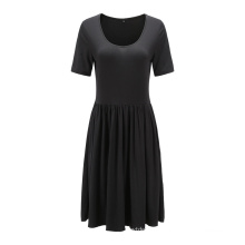 Recycled Polyester Short Sleeve Casual with Elastic Ruffled Waist Dress