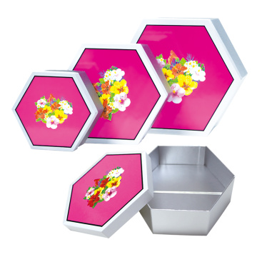 Caja plegable de papel de regalo de embalaje de sombrero hexagonal plegable