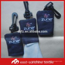 Kundenspezifische Druck eine Farbe Logo gedruckt portable microfiber Gläser Tuch, Schlüsselkette Reinigungstuch